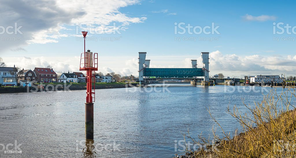 Storm surge barrier river Hollandse IJssel stock photo