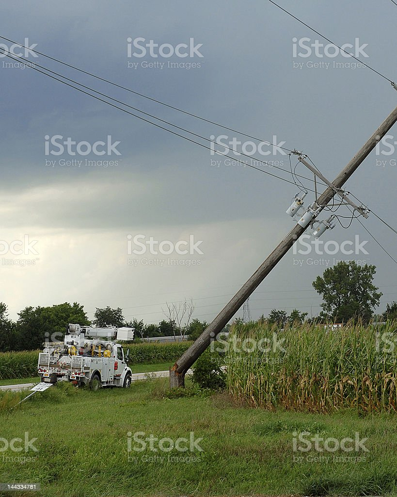 A storm that knocked down a pole stock photo