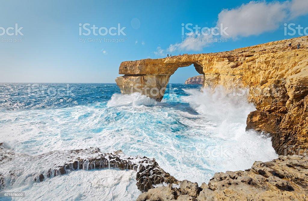 Storm the Azure Window in Gozo, Malta stock photo