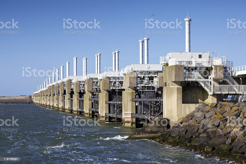 Storm tide bridge stock photo