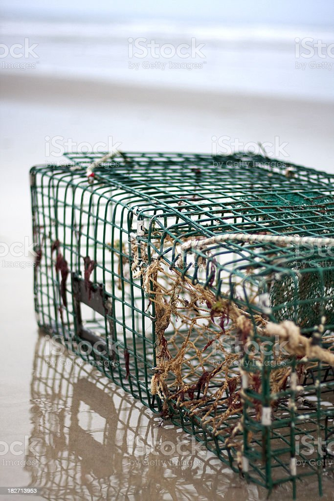 Storm Tossed Lobster Trap royalty-free stock photo