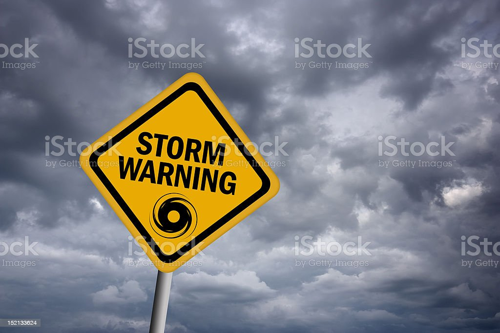 Storm warning sign stock photo