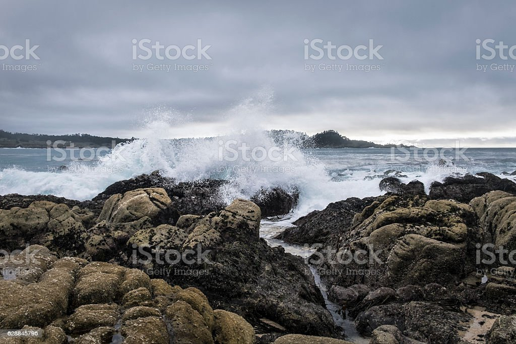 Storm waves at Carmel Bay stock photo