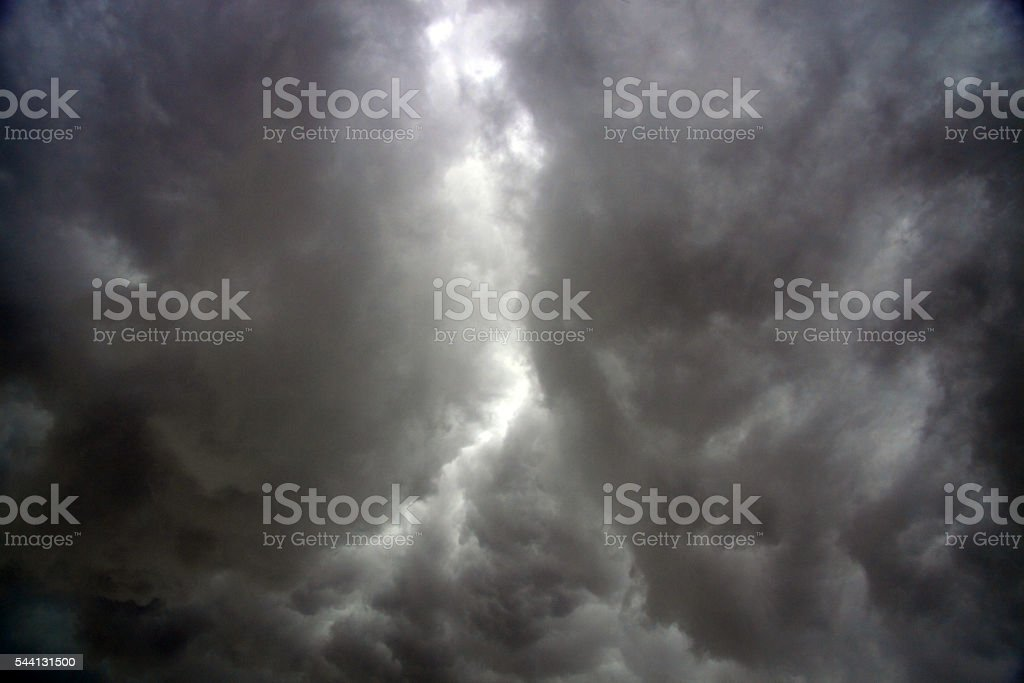 Storm with dark clouds stock photo