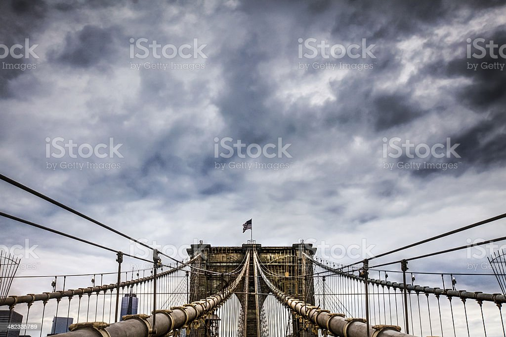 Storming over the Brooklyn Bridge royalty-free stock photo