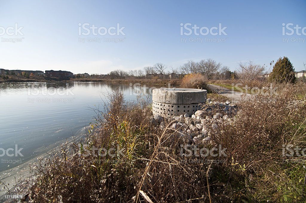 Stormwater Management - Perforated Concrete Pipe stock photo