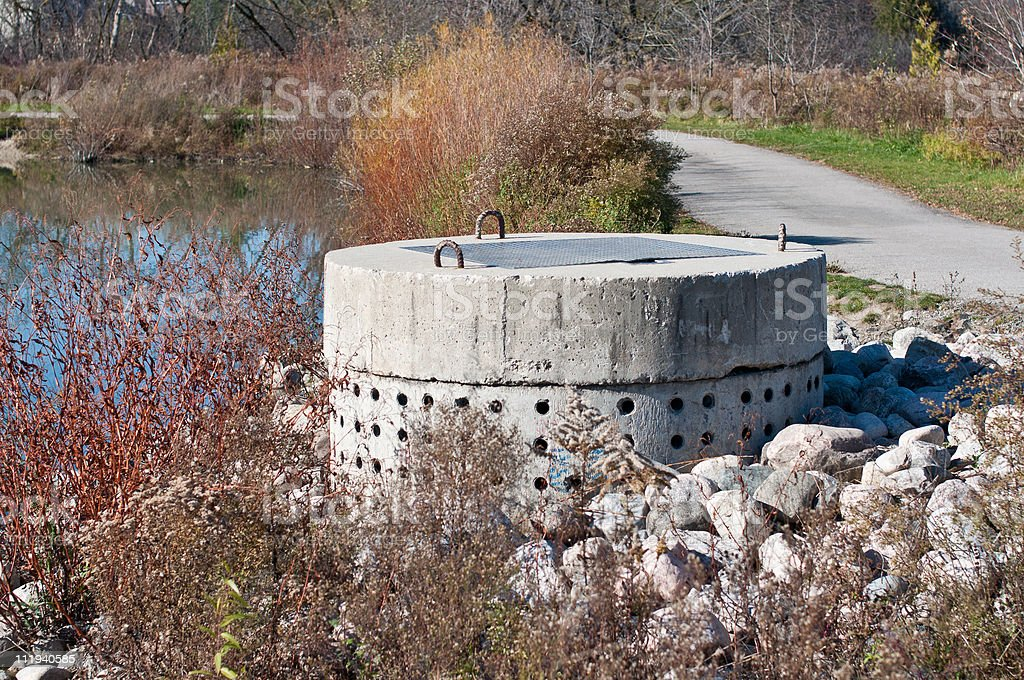 Stormwater Management System Perforated Concrete Pipe stock photo