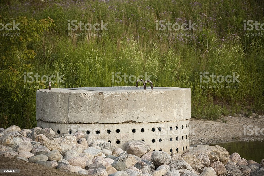 Stormwater Management System - Perforated Concrete Pipe stock photo