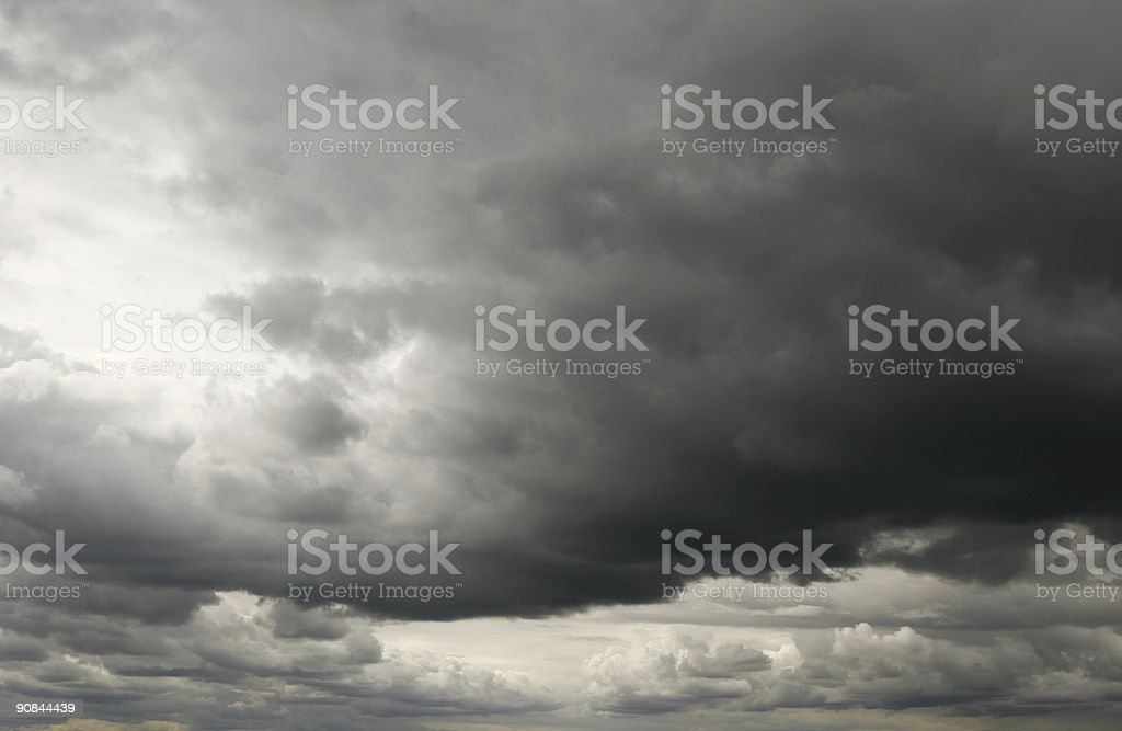 Stormy and cloudy dark sky background stock photo
