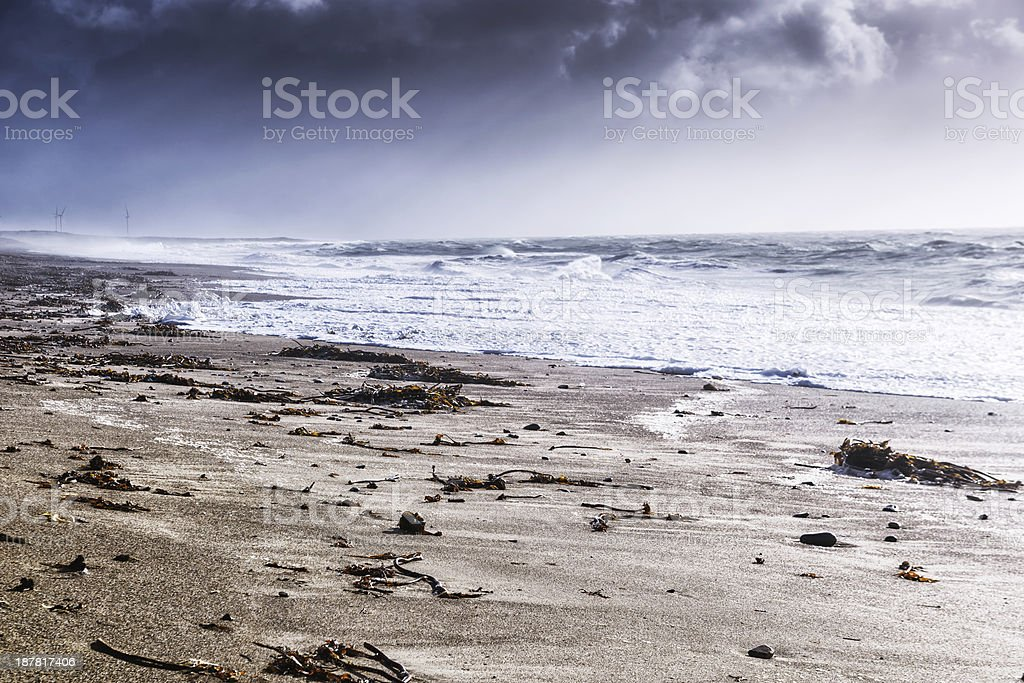 Stormy beach at  Rostonstown Burrow  in Ireland stock photo