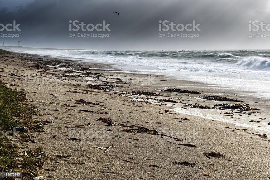 Stormy beach at  Rostonstown Burrow, Ireland stock photo