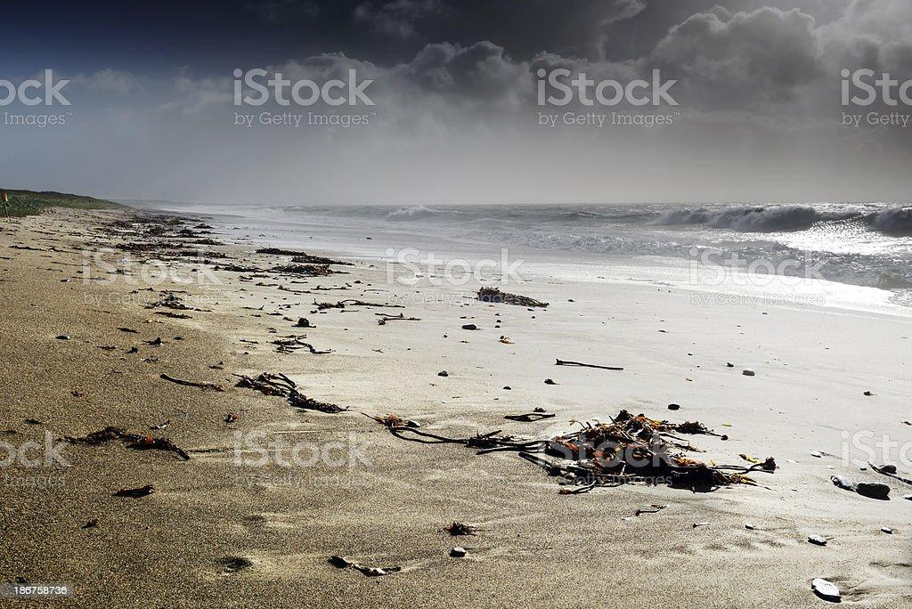 Stormy beach in Ireland stock photo
