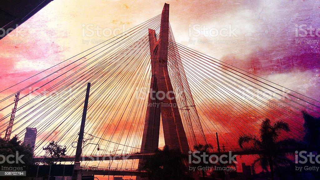 Stormy bridge royalty-free stock photo