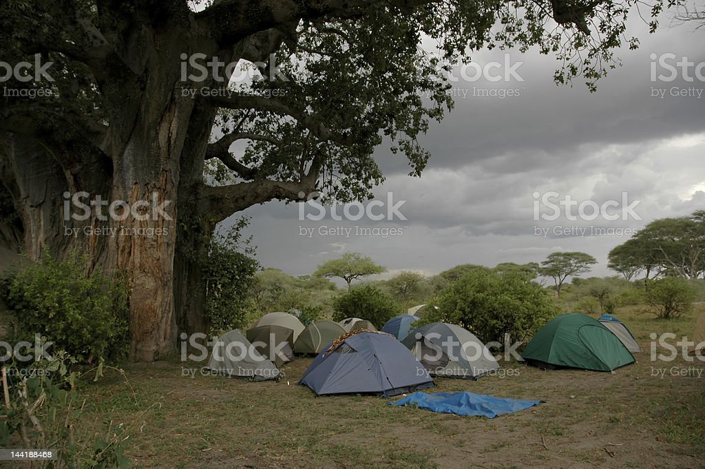 Stormy Camping royalty-free stock photo