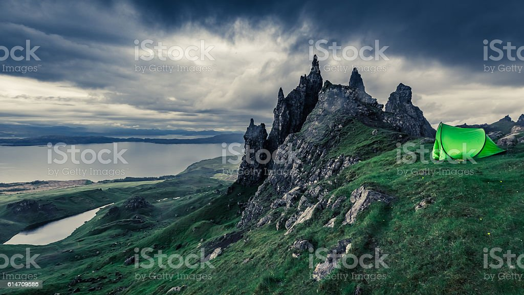 Stormy clouds over campsite in Old Man of Storr, Scotland stock photo