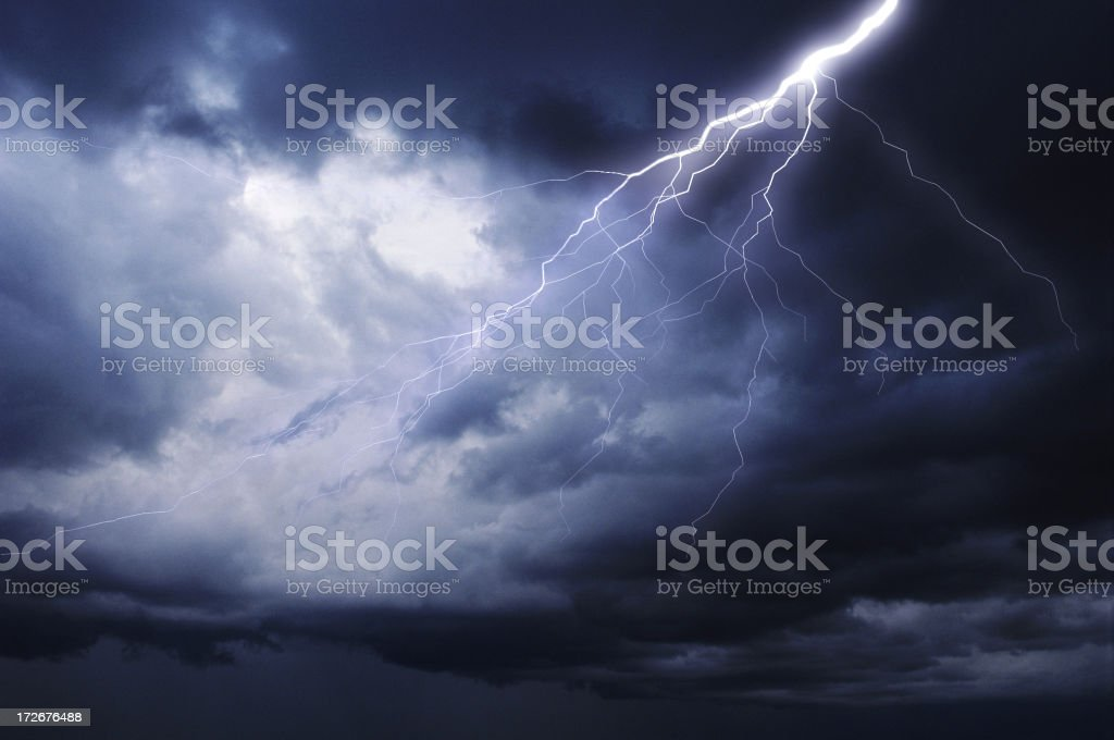 stormy cloudy sky with lightning stock photo