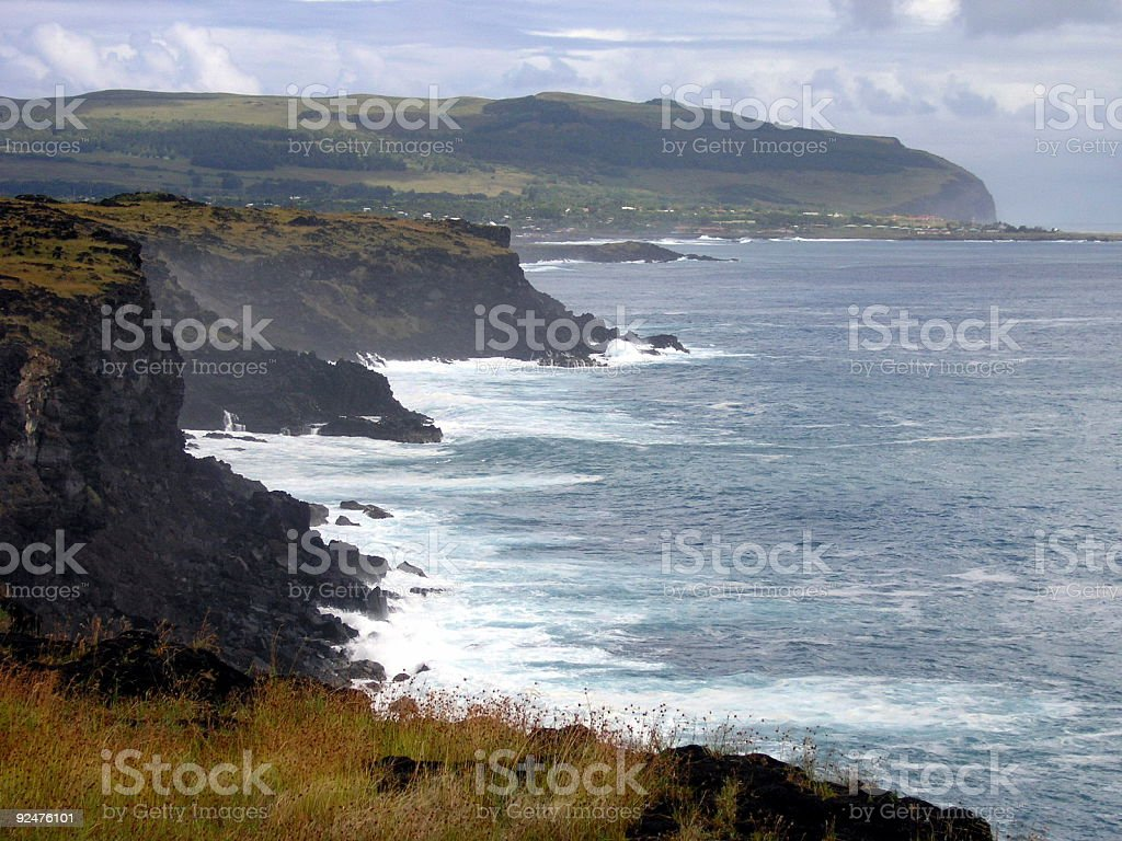 Stormy day at Easter Island royalty-free stock photo