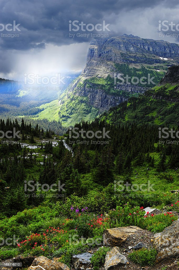 Stormy Day at Glacier National Park stock photo