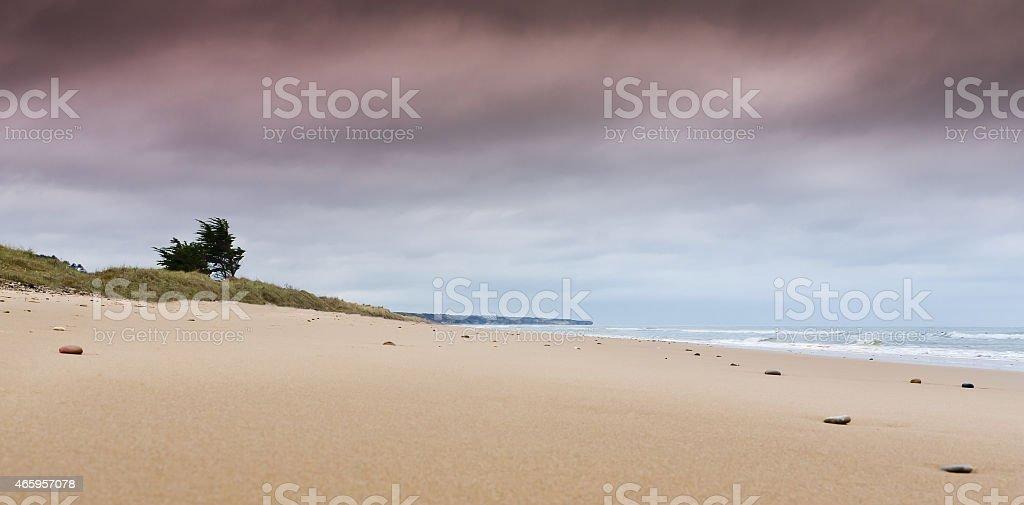 Stormy day at Omaha Beach.. stock photo