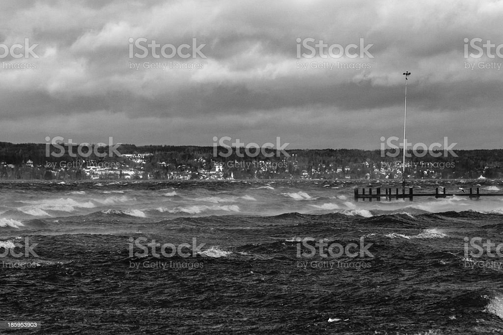 Stormy day at the Starnberger See royalty-free stock photo