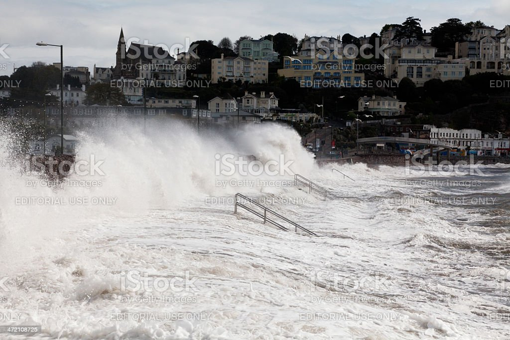 Stormy day at Torquay stock photo