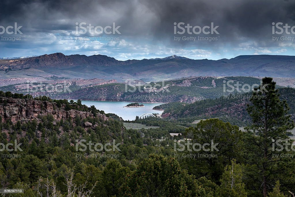 Stormy Day Over the Flaming Gorge in Utah stock photo
