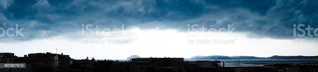 Stormy Dramatic Cloudscape in the bay of Naples, Italy stock photo