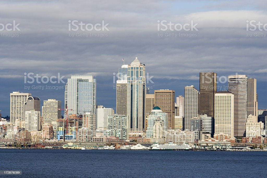 Stormy Evening Sunset over Seattle royalty-free stock photo