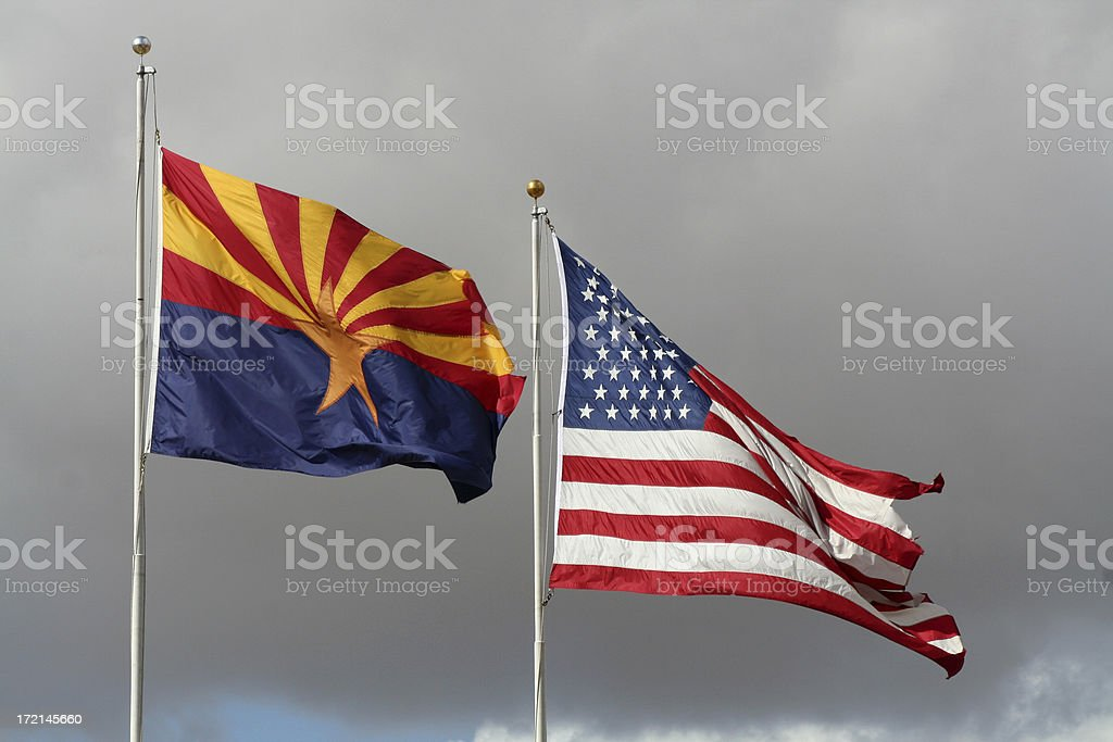 Stormy Flags royalty-free stock photo