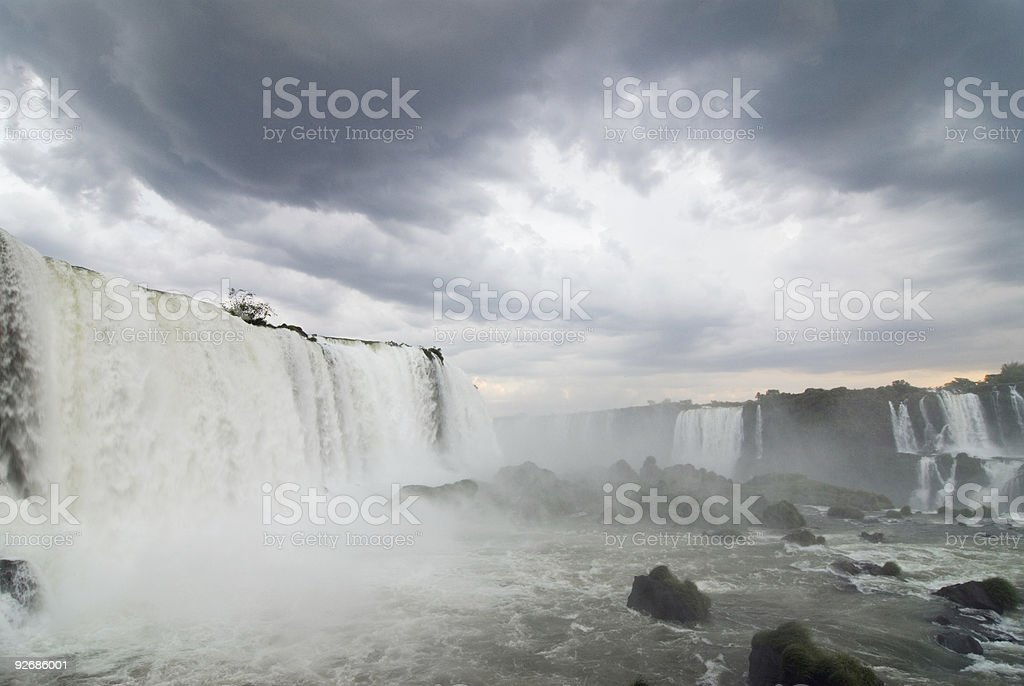 Stormy Iguacu Falls (with grain) royalty-free stock photo