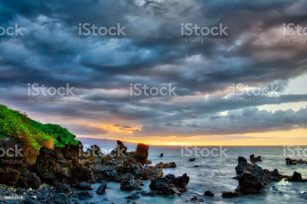 Stormy Maui sunset stock photo