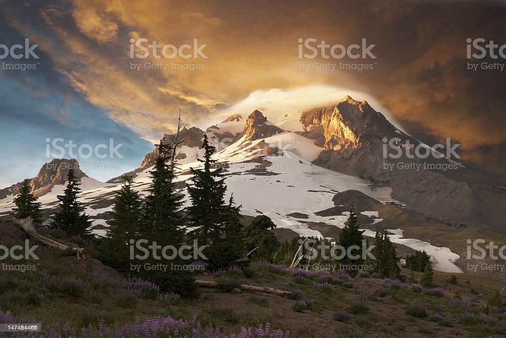 Stormy Mt. Hood, Oregon, at Sunset, stock photo