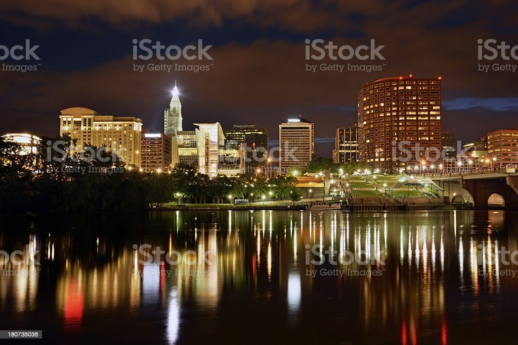 Stormy night in Hartford, CT royalty-free stock photo
