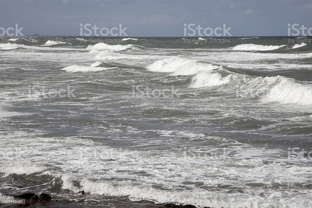 stormy North sea Northumberland stock photo