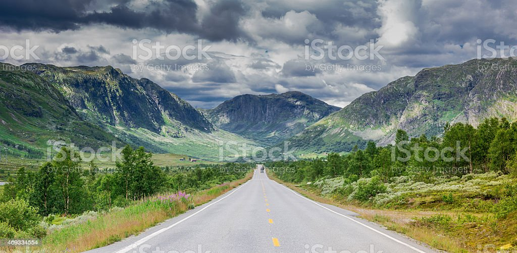 Stormy Norwegian Highway stock photo