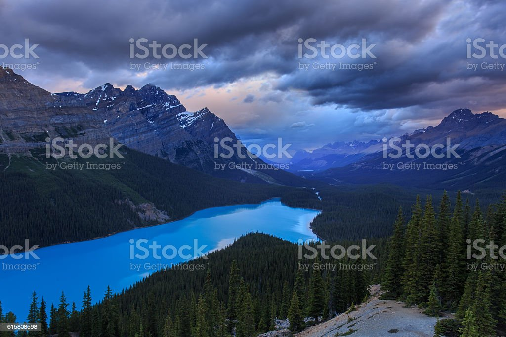 Stormy Peyto Lake stock photo