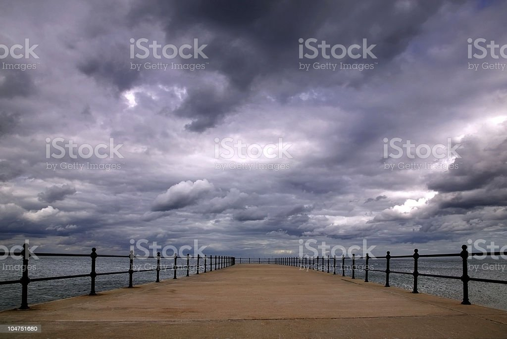 Stormy pier royalty-free stock photo