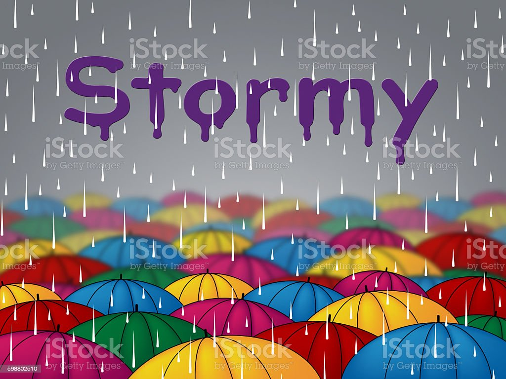 Stormy Rain Shows Wet Storms And Showers stock photo