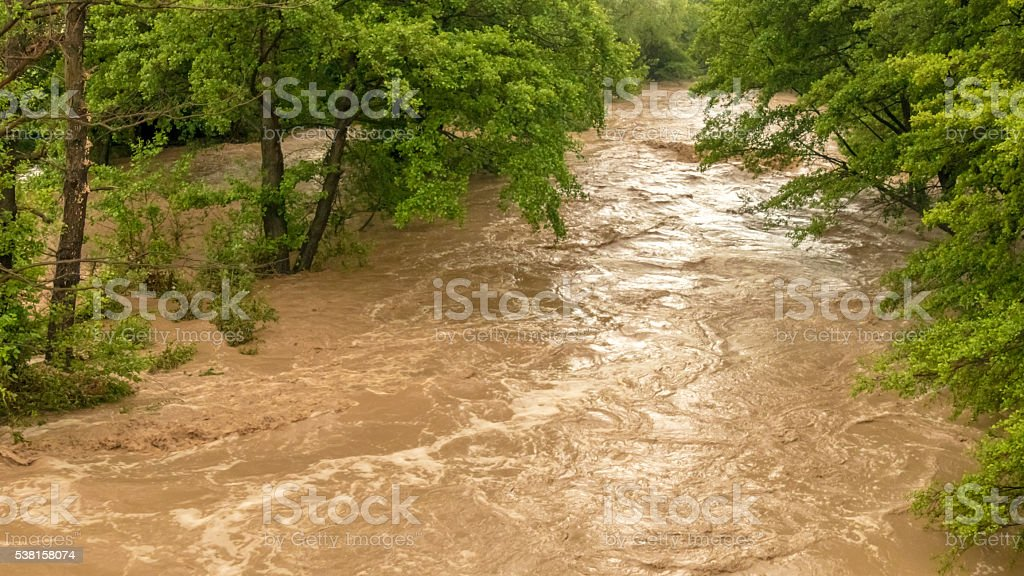 Stormy river flooding the forest stock photo