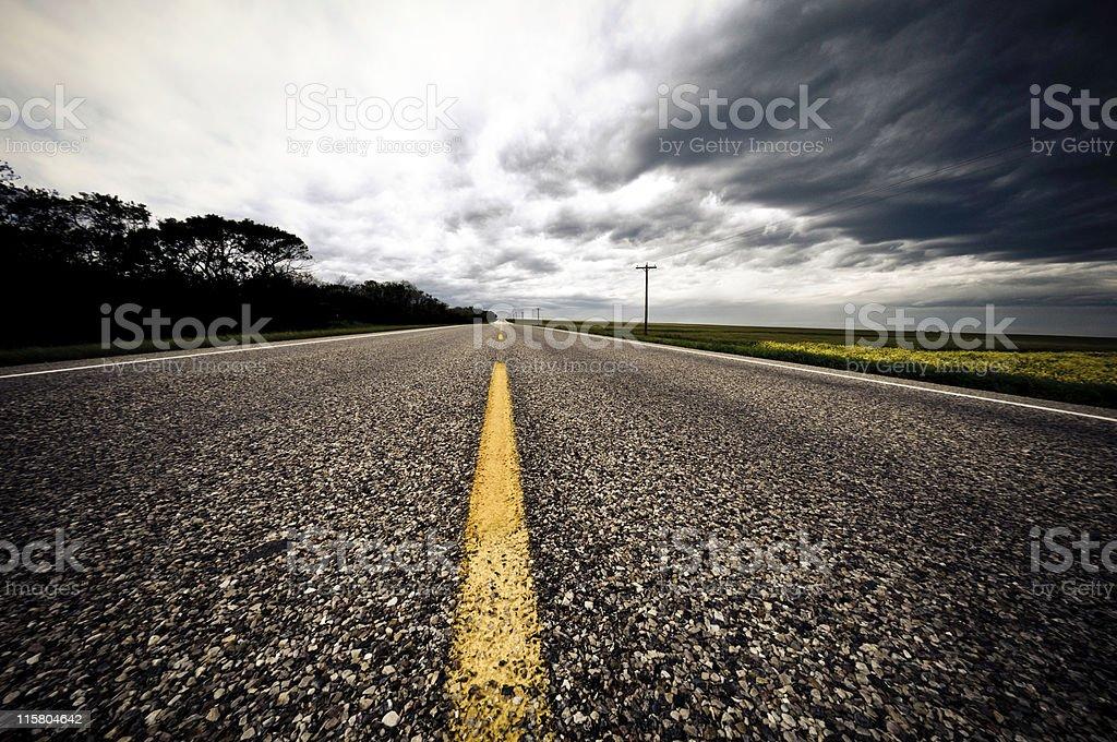 Stormy road stock photo