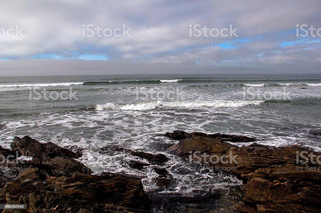 Stormy Sea at Rocky Beach Islay Scotland stock photo