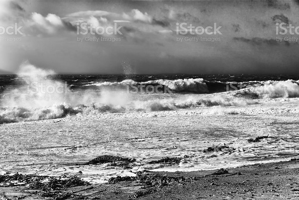 Stormy sea at  Rostonstown Burrow  in Ireland stock photo