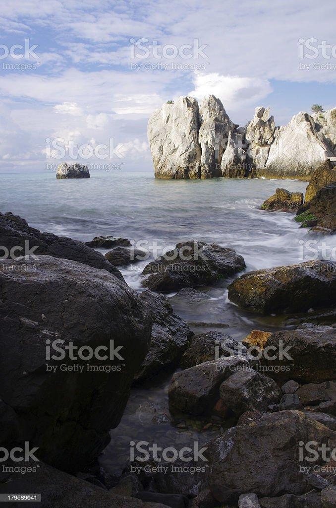 Stormy sea at sunrise stock photo