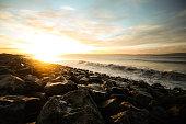 stormy sea at sunrise