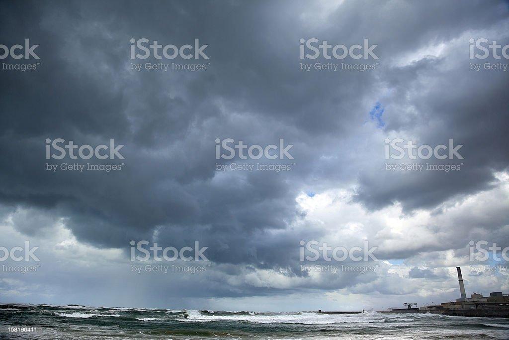 Stormy Sea at Tel-Aviv Port royalty-free stock photo