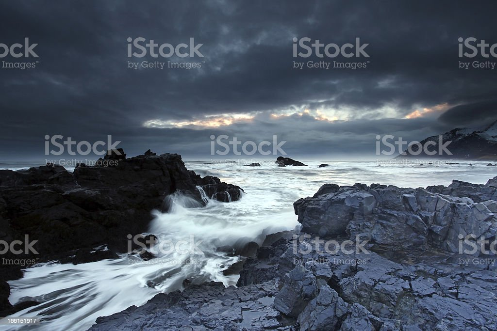 Stormy sea in south east iceland royalty-free stock photo