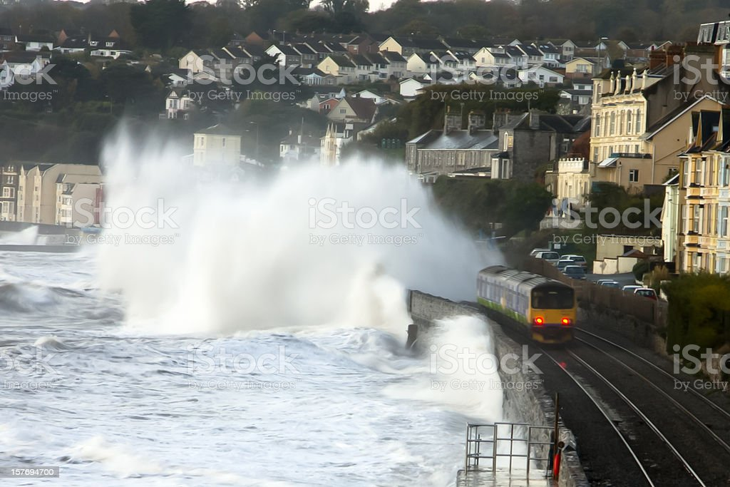 Stormy seas at Dawlish stock photo