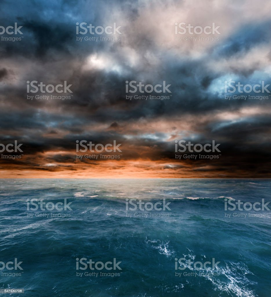 Stormy seas from winter weather. stock photo