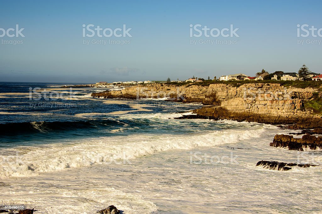 stormy seas in Hermanus stock photo