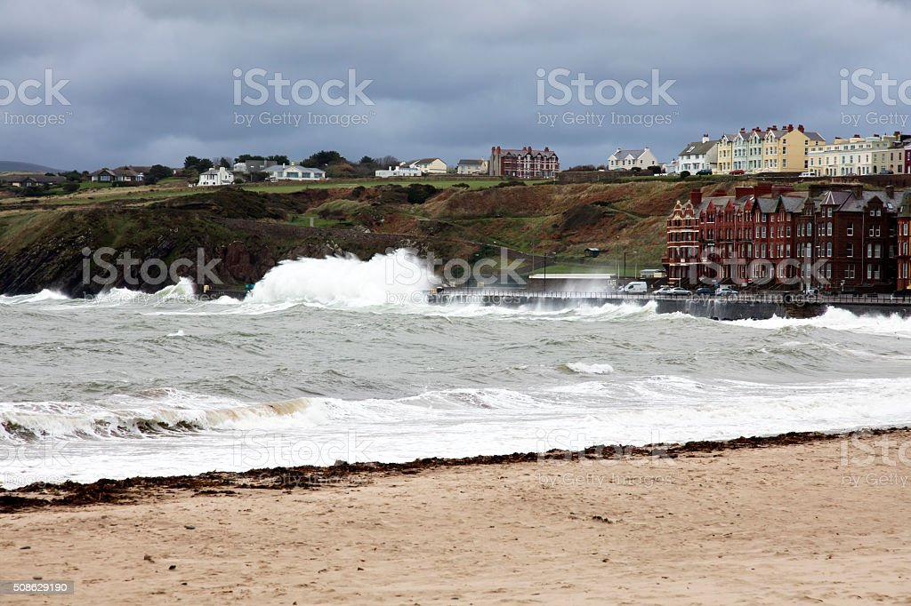 Stormy seas Peel Isle of Man stock photo